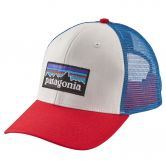 Patagonia - P6 Logo Trucker Mütze Unisex white fire andes blue