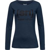 super.natural - Essential I.D. Longsleeve Damen blue iris melange jet black log