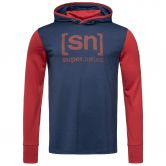 super.natural - Alpine Hoody Men blue iris red dhalia