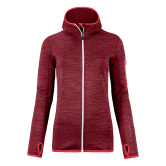 ORTOVOX - Fleece Melange Hooded Jacket Women dark blood blend