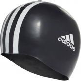 adidas - 3-Stripes Silicone Swim Cap Unisex white black