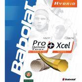 Babolat - Pro Hurricane Tour 1.25 + Xcel 1.30 Tennissaite weiß gelb