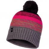 BUFF® - Knitted & Fleece Bommelmütze Alyona Unisex melange grey pink