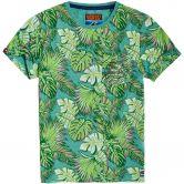 Superdry - All Over Print Ticket Type Pocket Lite T-Shirt Herren aquamarine grit