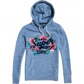Superdry - Super 23 Tropical Burst Hoodie Damen cali blau meliert