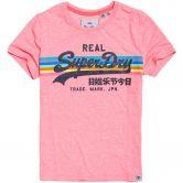 Superdry - Vintage Logo Retro Rainbow T-Shirt Damen neon pink snowy