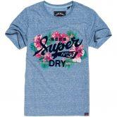 Superdry - Super 23 Tropical Burst T-Shirt Damen cali blau meliert