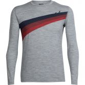 Icebreaker - Oasis Longsleeve Crewe Ascent Stripe Herren metro heather