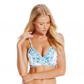Seafolly - Sunflower Border Wrap Front Booster Bikini Top Damen electric blue